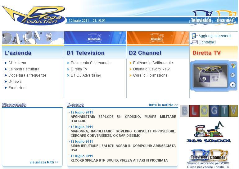 Il sito web d1 television