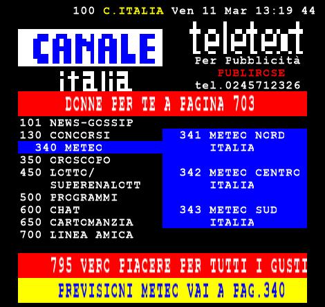 Mux Canale Italia: Disattivato VHF E7 Attivato UHF 51