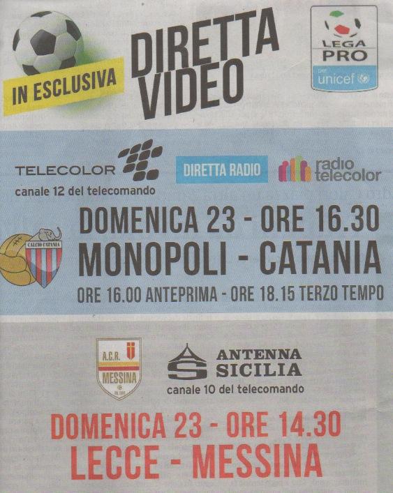 Lecce-Messina diretta Antenna Sicilia domenica 23 aprile ore 14.30