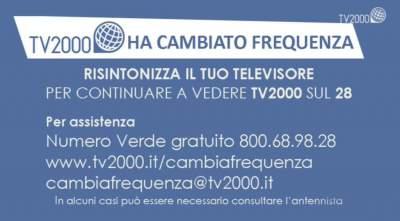 Cartello TV2000 ha cambiato frequenza: Risintonizza il tuo televisore