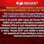 Mondiali Russia 2018 su Canale 5, Italia 1, 20, Mediaset Extra e Radio 105