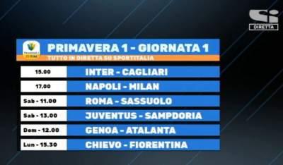 Tutte le partite del campionato Primavera 1 su Sport Italia