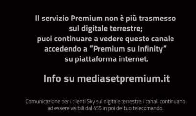 Fine trasmissioni Mediaset Premium sul digitale terrestre